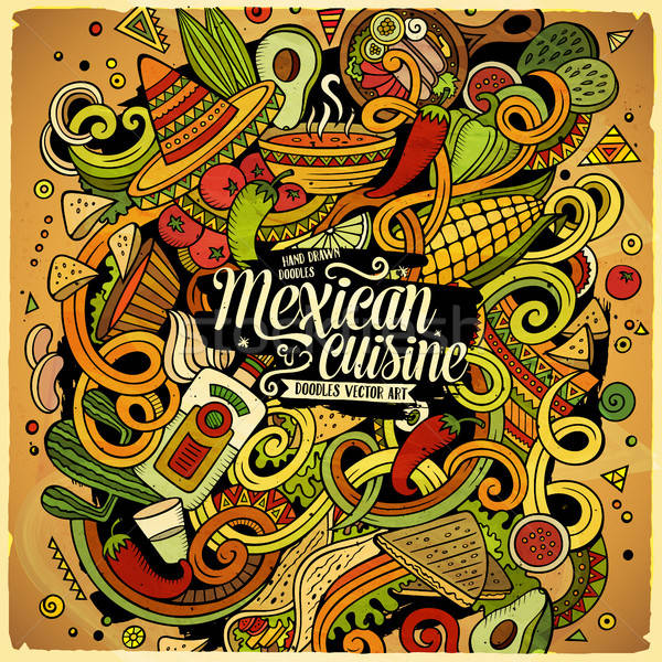 Cartoon cute doodles Mexican food illustration Stock photo © balabolka