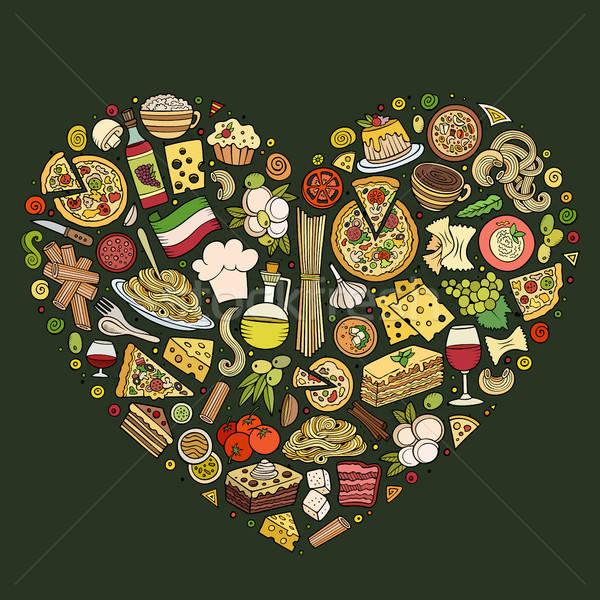 набор итальянской кухни Cartoon болван объекты Сток-фото © balabolka