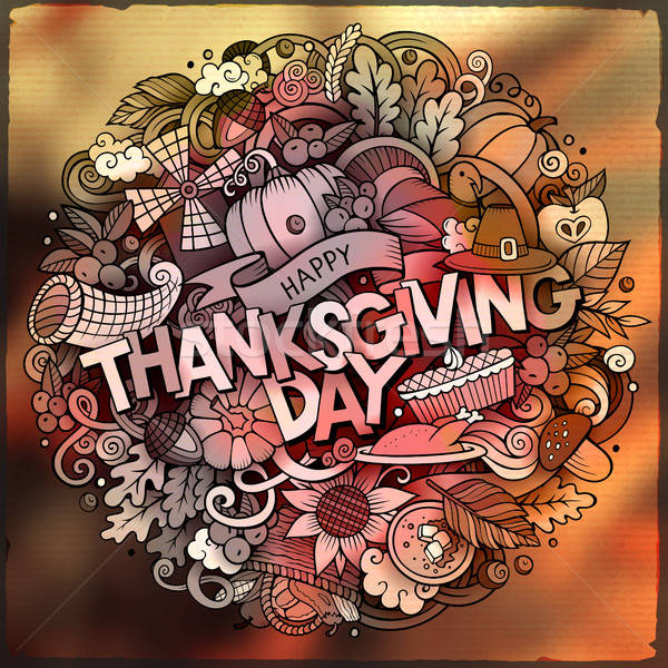 Stock photo: Cartoon cute doodles hand drawn Thanksgiving inscription