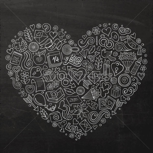 Stock photo: Vector set of Love cartoon doodle objects