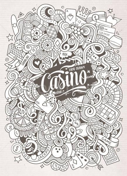 Cartoon hand-drawn doodles casino, gambling illustration Stock photo © balabolka