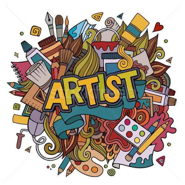 Sanatçı el karalamalar elemanları amblem sevmek Stok fotoğraf © balabolka