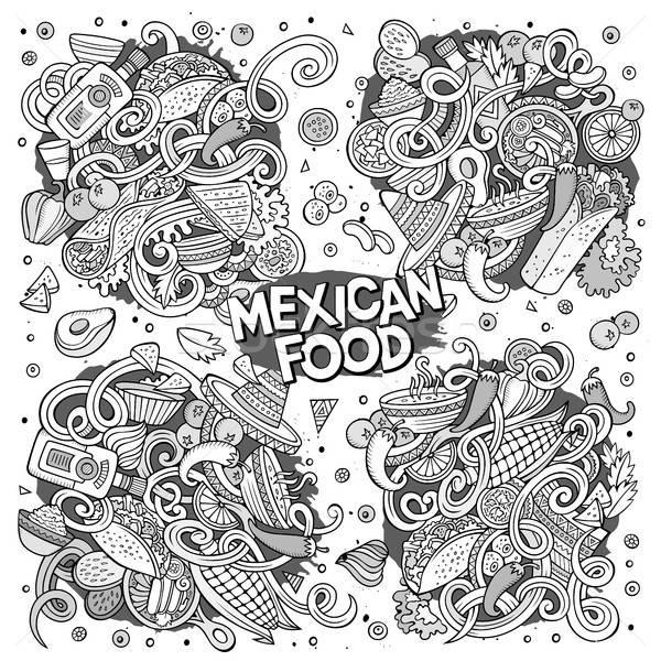 Cartoon establecer comida mexicana garabato diseños línea Foto stock © balabolka