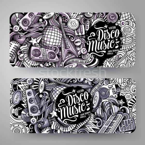 Cartoon graphics vector hand drawn doodles Disco Music horizontal banners Stock photo © balabolka