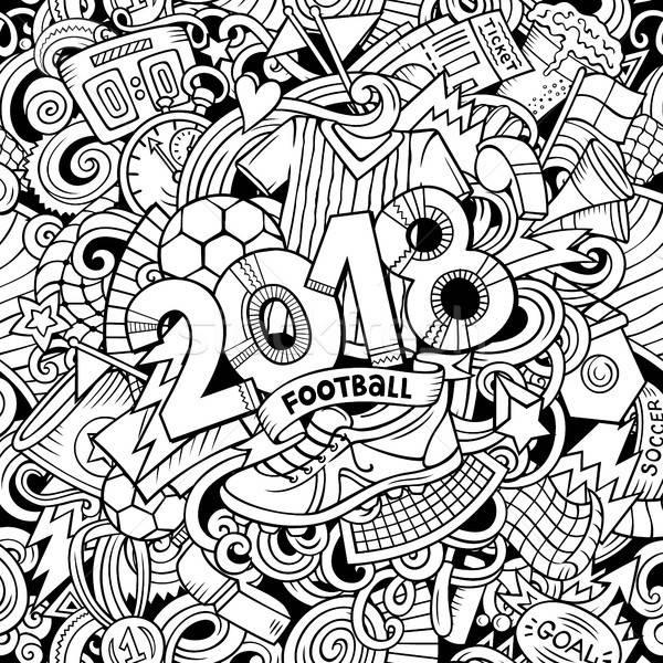 Stock photo: Cartoon cute doodles hand drawn 2018 Football illustration
