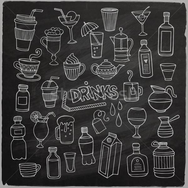 вектора набор различный рисованной напитки доске Сток-фото © balabolka