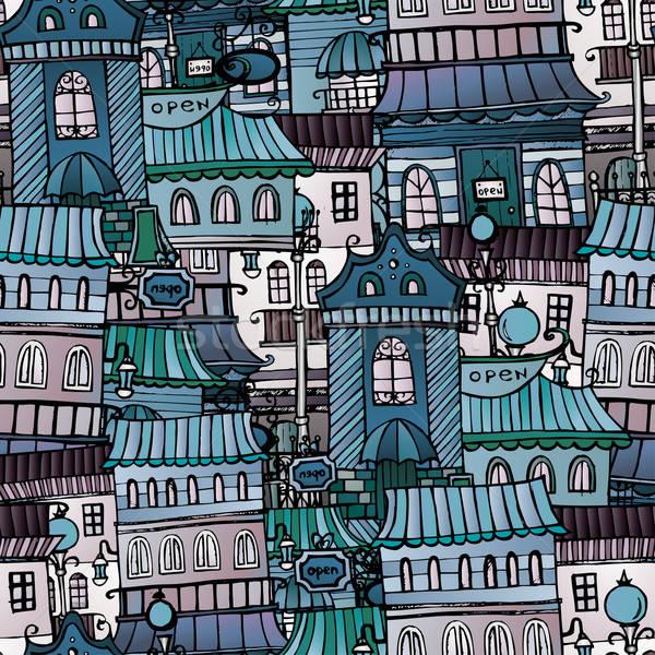 Stock fotó: Házak · végtelen · minta · rajz · vektor · tündérmese · rajz