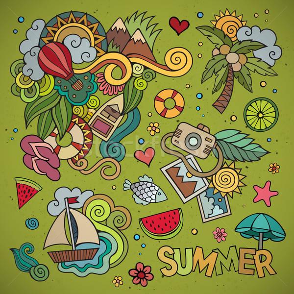 Vacances d'été symboles objets dessinés à la main vecteur fleur Photo stock © balabolka
