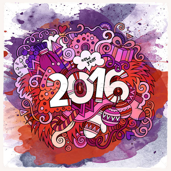 2016 year hand lettering and doodles elements watercolor backgrond Stock photo © balabolka