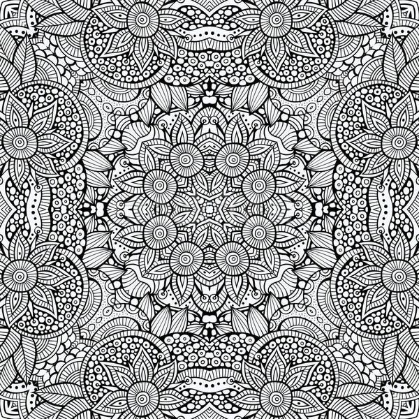 Stock photo: Abstract vector decorative ethnic hand drawn sketchy contour sea