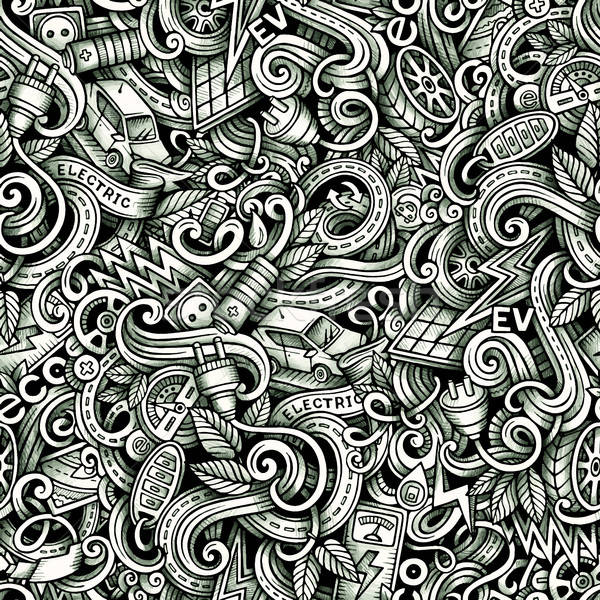 Cartoon doodles Electric cars season trace seamless pattern Stock photo © balabolka