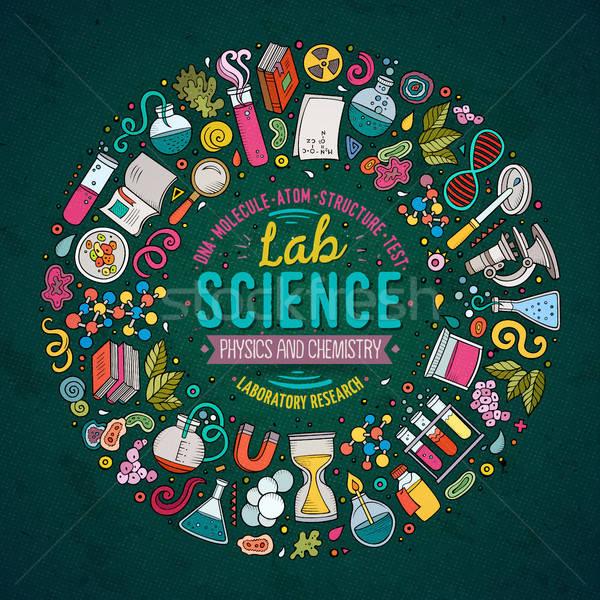Establecer ciencia Cartoon garabato objetos símbolos Foto stock © balabolka