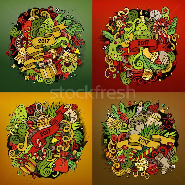 Año nuevo Cartoon cuadrados fondos vector dibujado a mano Foto stock © balabolka