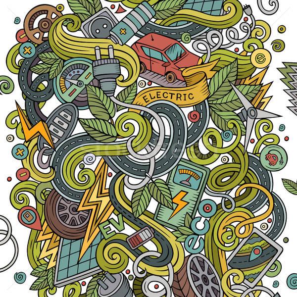 Cartoon cute électriques voitures illustration Photo stock © balabolka