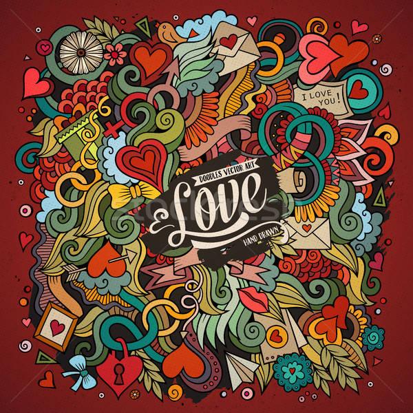 Cartoon cute doodles hand drawn Valentines Day illustration Stock photo © balabolka