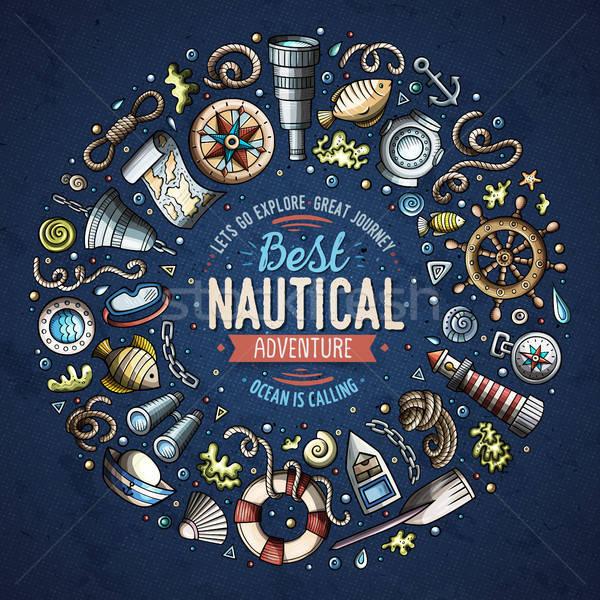 Szett tengerészeti rajz firka tárgyak szimbólumok Stock fotó © balabolka