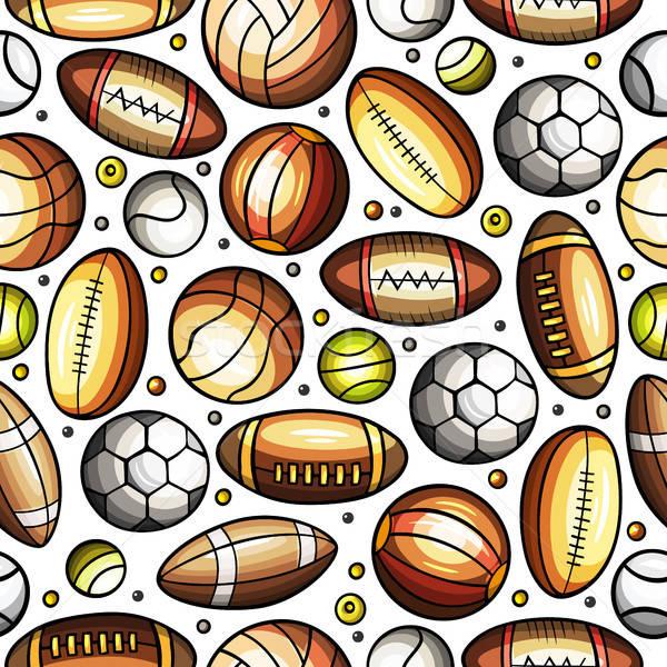 Cartoon cute hand drawn Sport seamless pattern Stock photo © balabolka