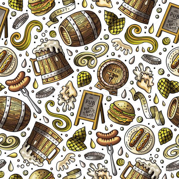 Desenho animado bonitinho cerveja colorido Foto stock © balabolka