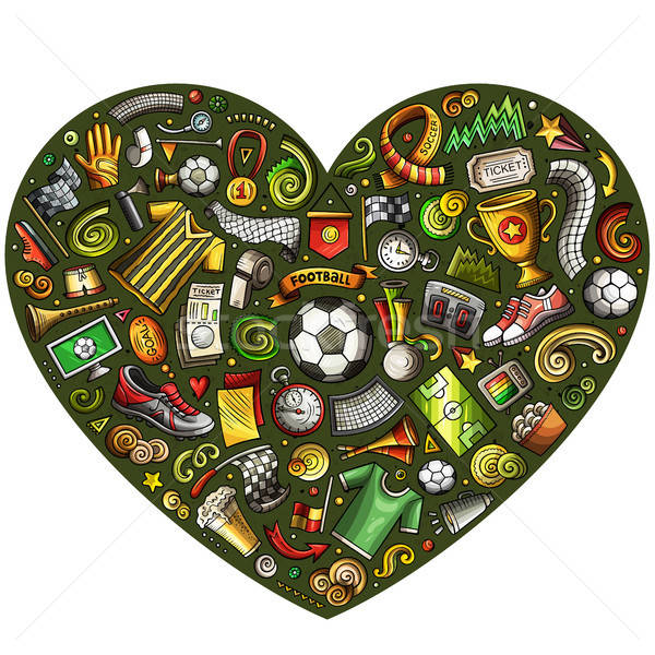 Ingesteld vector cartoon doodle voetbal objecten Stockfoto © balabolka