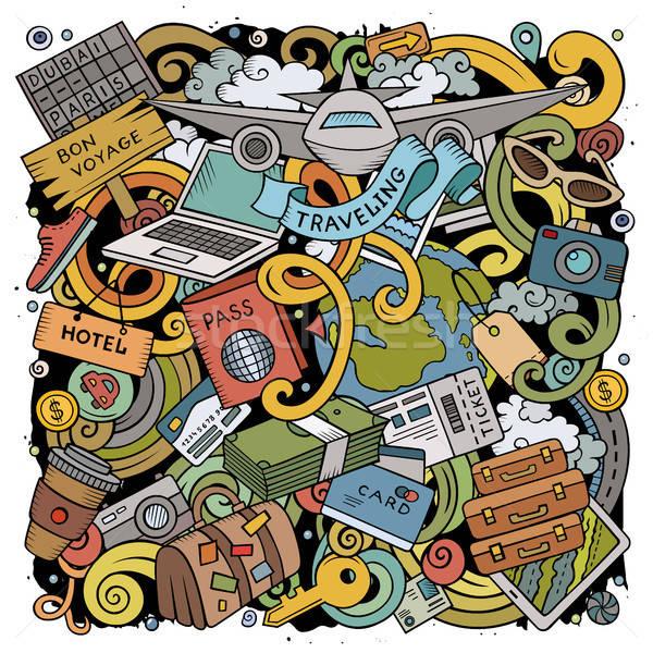 Сток-фото: Cartoon · вектора · путешествия · иллюстрация · красочный