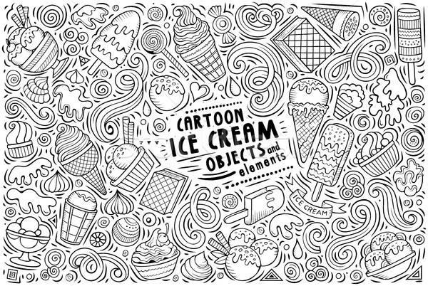 Vetor rabisco desenho animado conjunto sorvete objetos Foto stock © balabolka