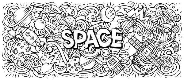 Cartoon cute doodles Space word Stock photo © balabolka