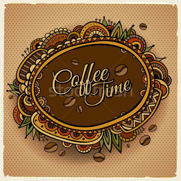 Coffee time decorative border label design. Stock photo © balabolka