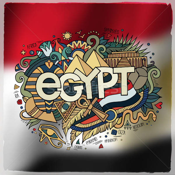 Egypt country hand lettering and doodles elements and symbols em Stock photo © balabolka