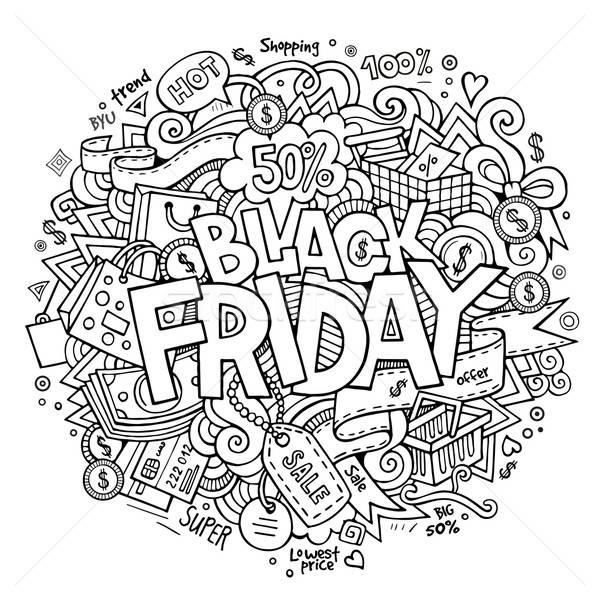 Black Friday sale hand lettering and doodles elements Stock photo © balabolka