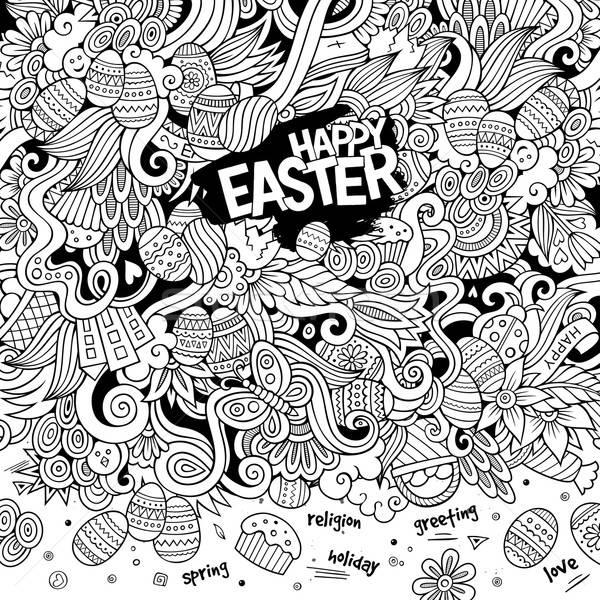 Karikatür karalamalar iyi paskalyalar renkli ayrıntılı nesneler Stok fotoğraf © balabolka
