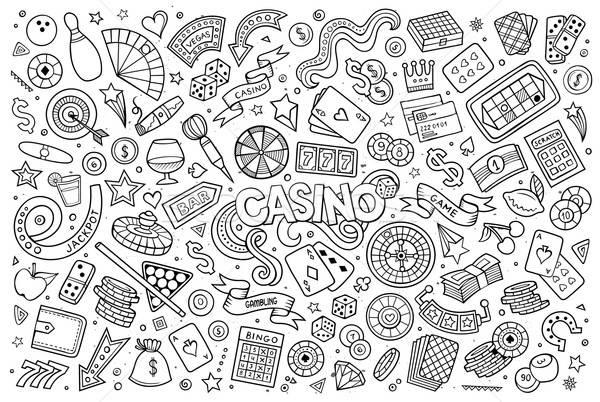 Sketchy vector hand drawn doodles cartoon set of Casino objects  Stock photo © balabolka