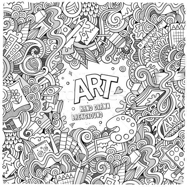 Cartoon vector doodles hand drawn art and craft frame  Stock photo © balabolka