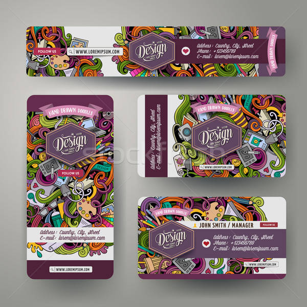 Cartoon doodles design corporate identity set Stock photo © balabolka