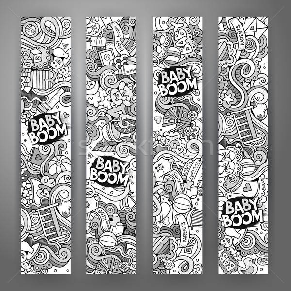 Cartoon vector doodles baby boom banners Stock photo © balabolka