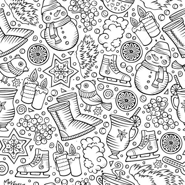 Stock photo: Cartoon cute hand drawn Winter season seamless pattern