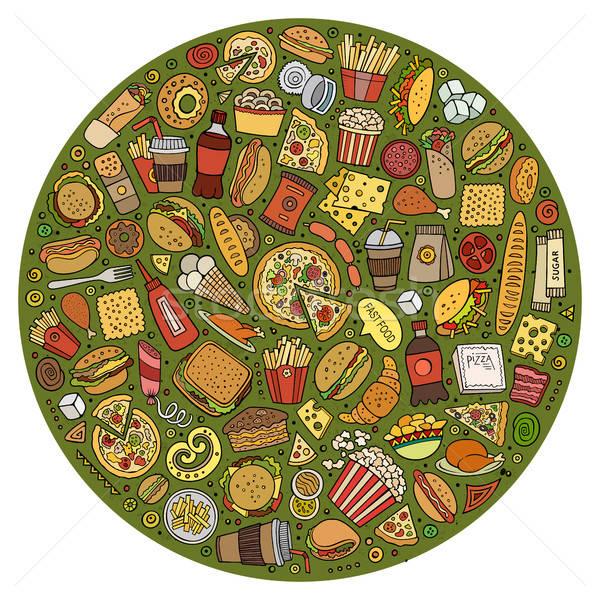 Stockfoto: Ingesteld · fast · food · cartoon · doodle · objecten · symbolen