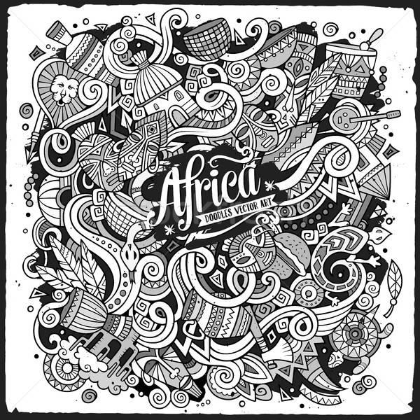 Cartoon cute doodles Africa illustration Stock photo © balabolka