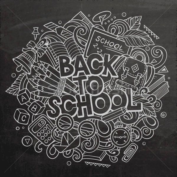 Cartoon cute doodles Back to School phrase Stock photo © balabolka