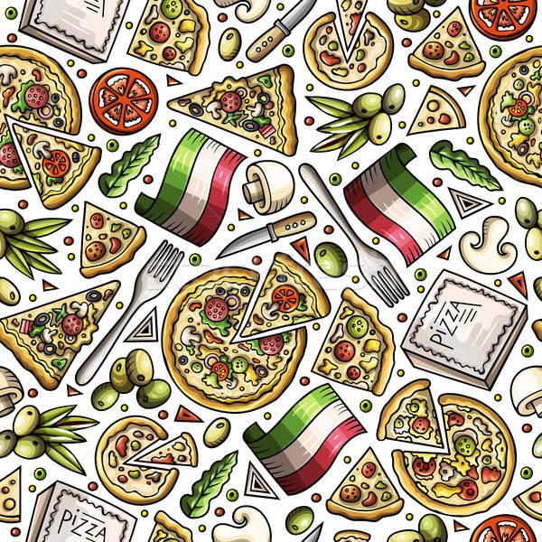 Cartoon cute hand drawn Italian food seamless pattern. Stock photo © balabolka