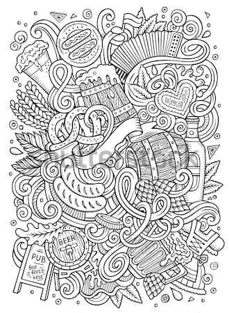 Tribal native American sketch set of symbols Stock photo © balabolka