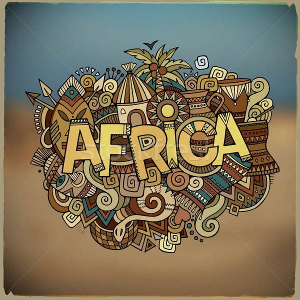 Africa ethnic hand lettering and doodles elements Stock photo © balabolka