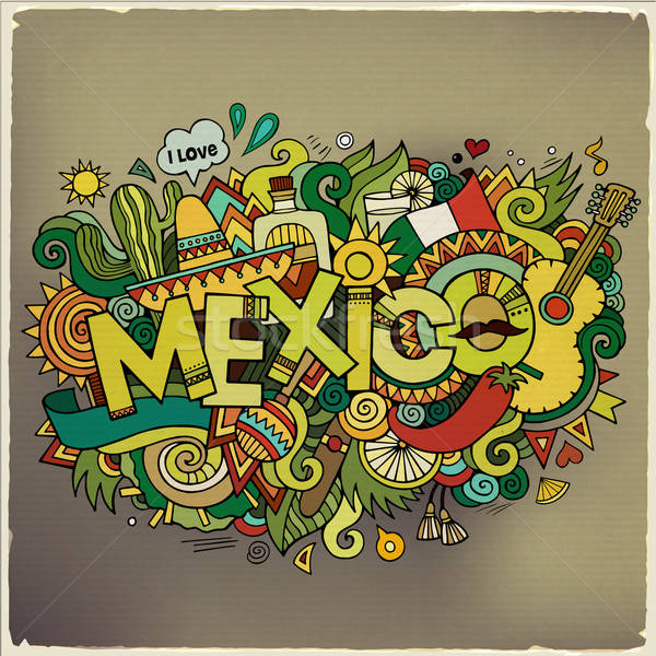 Stock photo: Mexico hand lettering and doodles elements background. Vector il