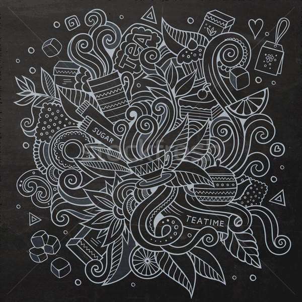 Cartoon вектора рисованной чай время Сток-фото © balabolka