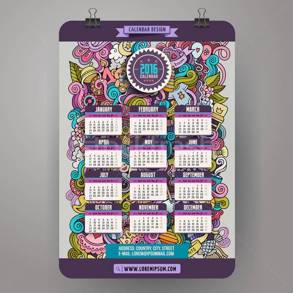 Kleurrijk cartoon baby kalender Stockfoto © balabolka