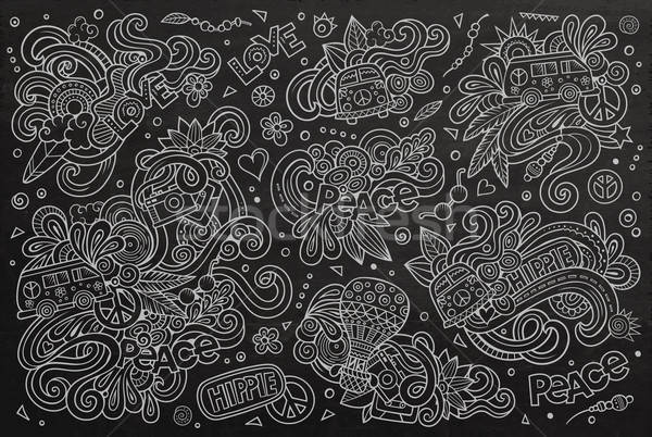 Quadro-negro conjunto hippie objeto vetor Foto stock © balabolka