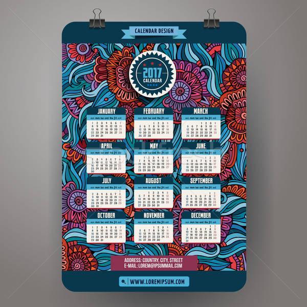 Cartoon scarabocchi floreale anno calendario colorato Foto d'archivio © balabolka
