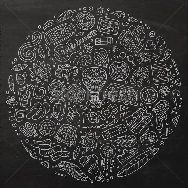 Stock photo: Set of Hippie cartoon doodle objects