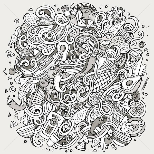 Cartoon cute scarabocchi cibo messicano illustrazione Foto d'archivio © balabolka