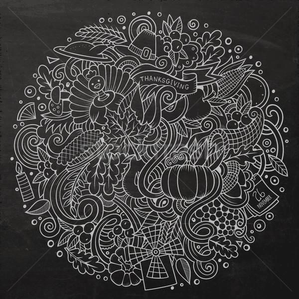 Cartoon cute doodles hand drawn Thanksgiving illustration Stock photo © balabolka
