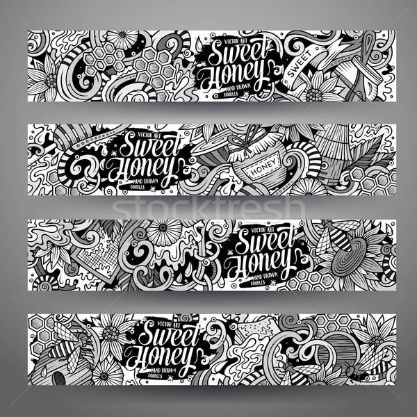 Cartoon vector hand drawn doodles Honey corporate identity Stock photo © balabolka